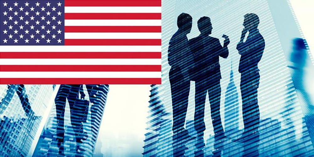 american flag with business people