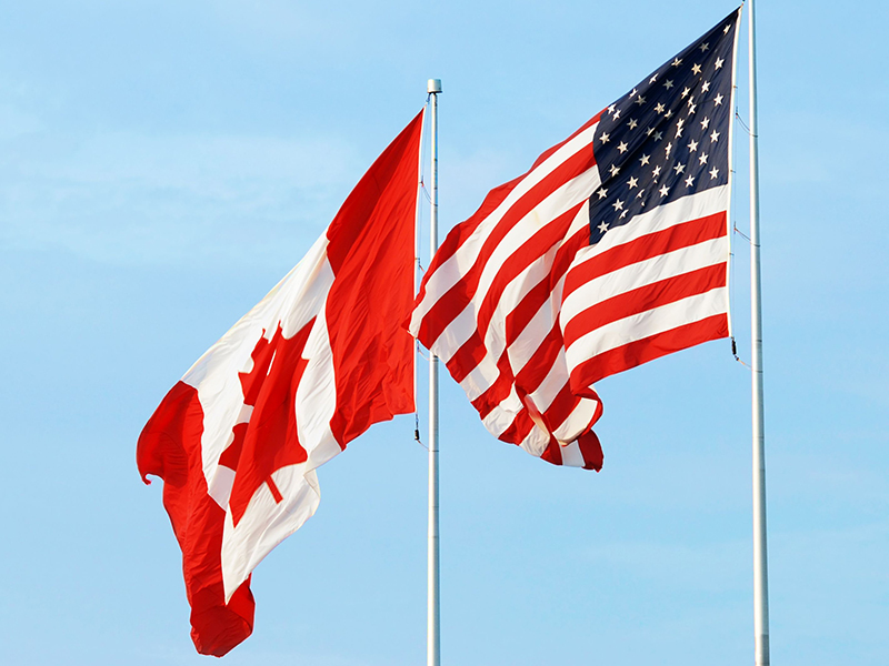 canadian usa flags